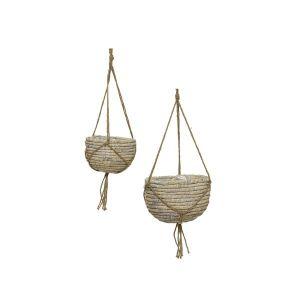 Whitewash Hyacinth Hanging Basket